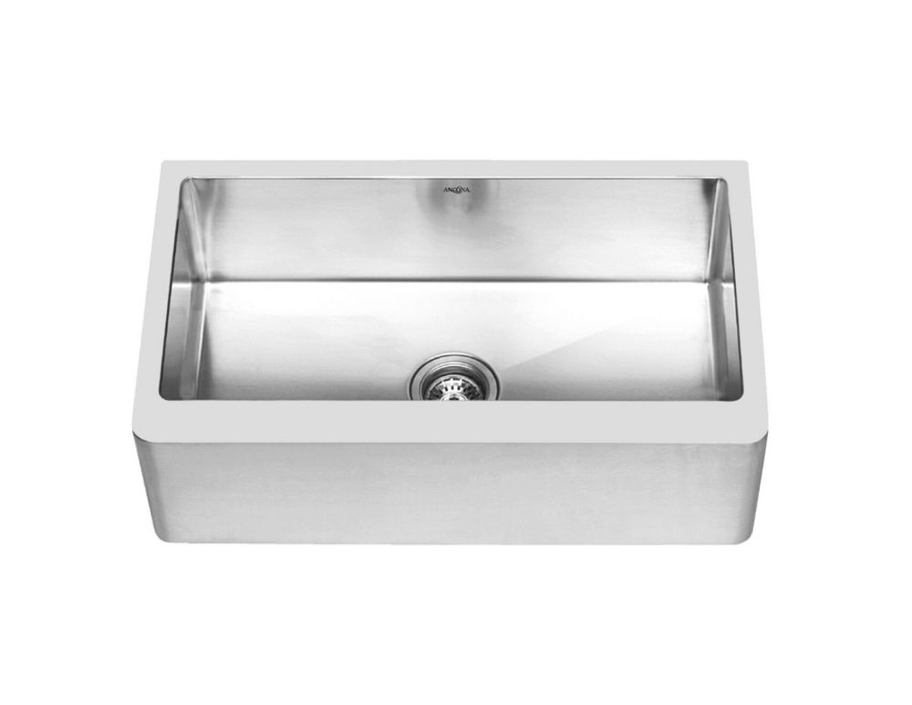 Ancona Prestige Series Undermount Farmhouse Apron  Stainless Steel 30 inch Single Bowl Handmade Sink