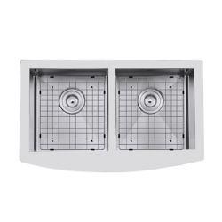 Ancona Prestige Series Farmhouse Apron Undermount Stainless Steel 33 inch 50/50 Double Bowl Handmade Sink