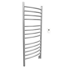 Svelte Rounded 40 inch Hardwired Electric Towel Warmer in Brushed Staineless Steel with Timer