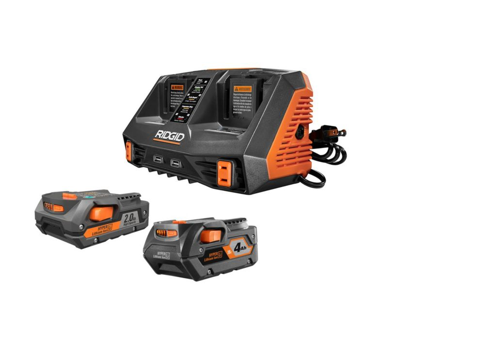 18V Lithium-Ion Dual Port Sequential Charger Kit with (1) 4.0Ah Battery and (1) 2.0Ah Battery