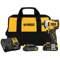 DEWALT ATOMIC 20V MAX Li-Ion Brushless Cordless Compact 1/4-inch Impact Driver w/ (2) Batteries 1.3Ah, Charger & Bag