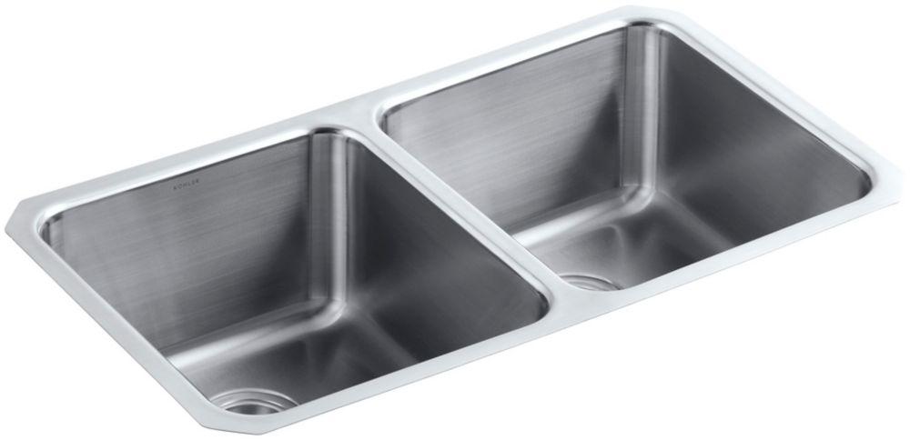 KOHLER Undertone Preserve Undermount Stainless Steel 18X31.5X9.5 0-Hole Double Bowl Kitchen Sink