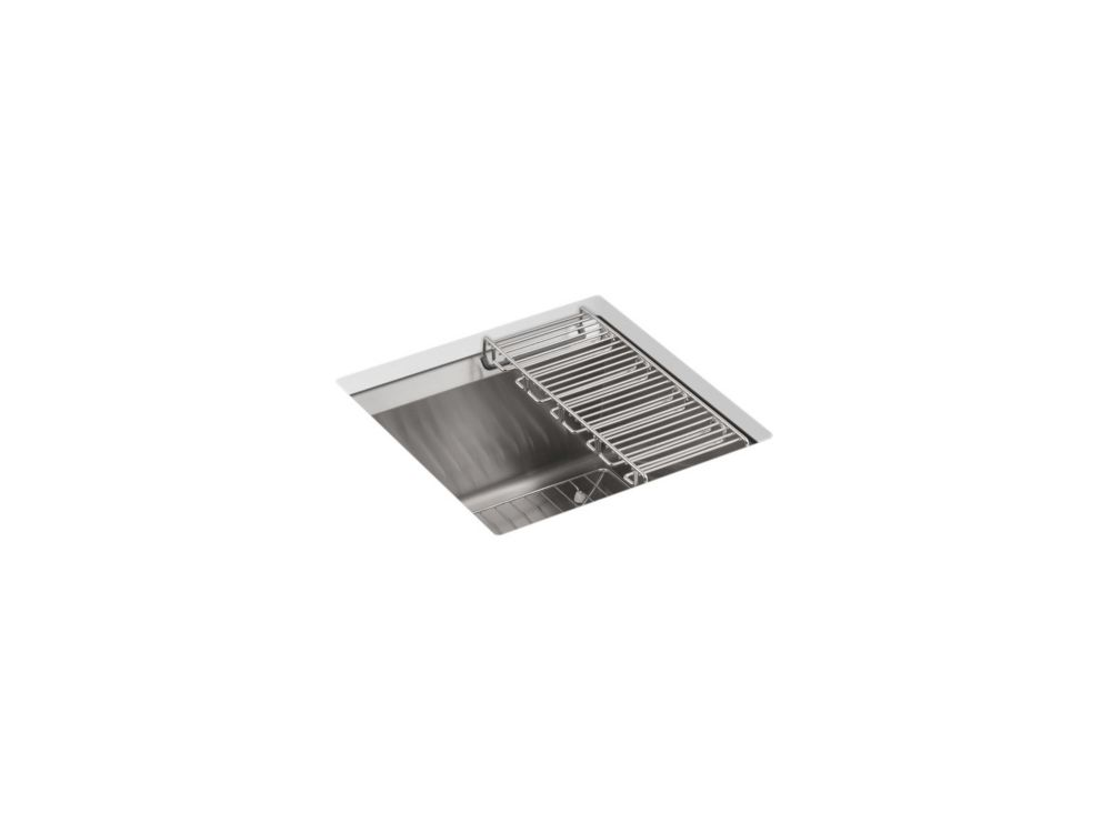 KOHLER 8 Degree Undermount Stainless Steel 18X18X10.1875 0-Hole Single Bowl Kitchen Sink