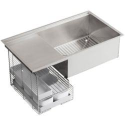 KOHLER Evier de cuisine simple Stages, en sous-surface, 33 x 18 1/2 x 9 13/16 po, avec surface de travail humide