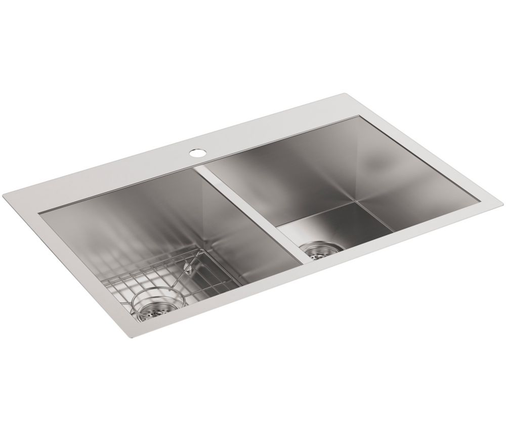 Vault Self-Rimming/Undercounter Stainless Steel 33X22X9.3125 1-Hole Double Bowl Kitchen Sink