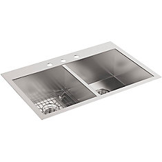 Vault Self-Rimming/Undercounter Stainless Steel 33X22X9.3125 3-Hole Kitchen Sink
