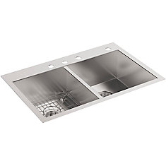 Vault Undercounter Stainless Steel 33X22X9.3125 4-Hole Double Bowl Kitchen Sink