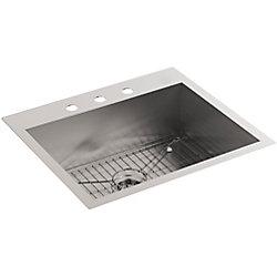 KOHLER Evier de cuisine simple moyen, installation sur surface/en sous-surface, 25 x 22 x 9 5/16 po, avec 3 trous de robinet