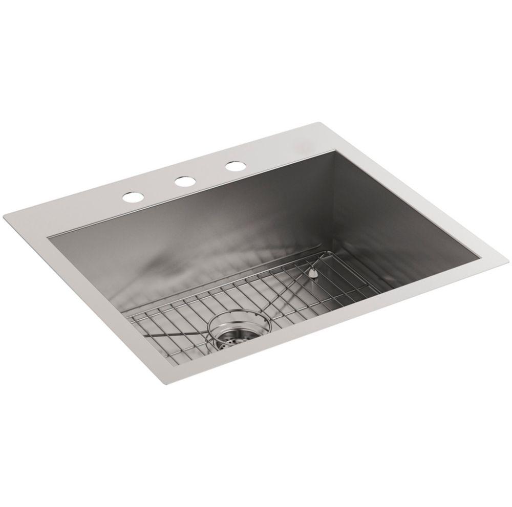 Vault Top Mount/Under mount Stainless Steel 25  inch 3-Hole Single Bowl Kitchen Sink