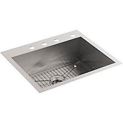 KOHLER Vault Dual Mount Stainless Steel 25X22X9.3125 4-Hole Single Bowl Kitchen Sink