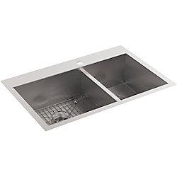 KOHLER Vault Offset Self-Rimming/Undercounter Stainless Steel 33X22X9.3125 1-Hole Kitchen Sink