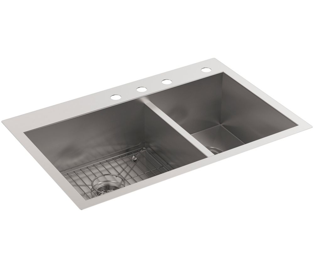 KOHLER Vault Self-Rimming/Under counter Stainless Steel 33  inch 4-Hole Double Bowl Kitchen Sink