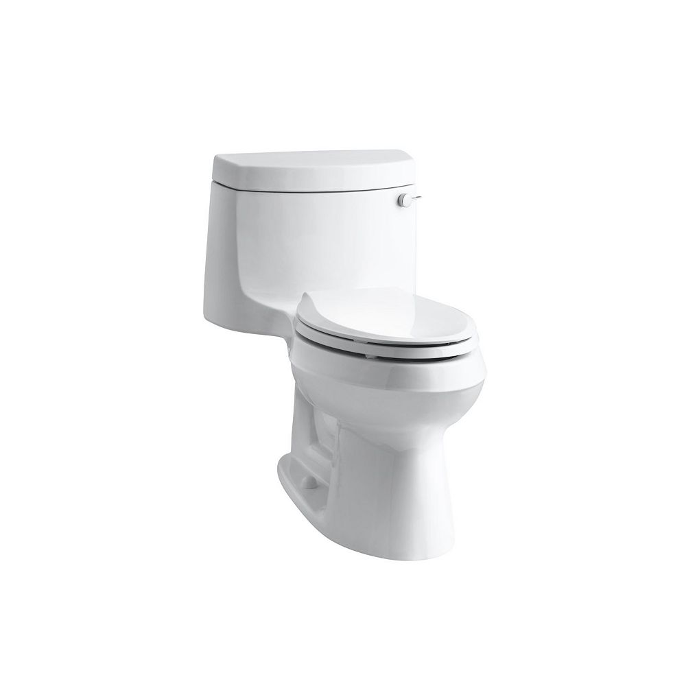 Kohler Cimarron Comfort Height 1 Piece 1 28 Gpf Single Flush Elongated Toilet In White The Home Depot Canada