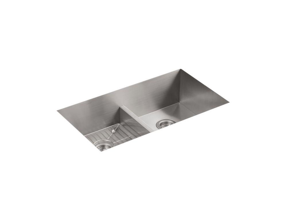 KOHLER Vault Smart Divide Stainless Steel 33X22X9.3125 1-Hole Double Bowl Kitchen Sink