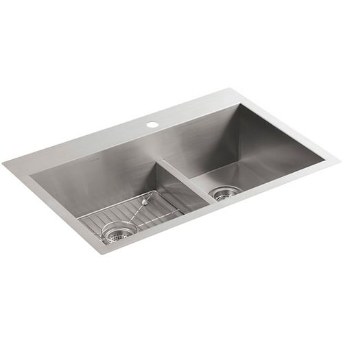 KOHLER Vault Smart Divide Top Mount Stainless Steel 22X33X9-5/16 1-Hole Double Bowl Kitchen Sink