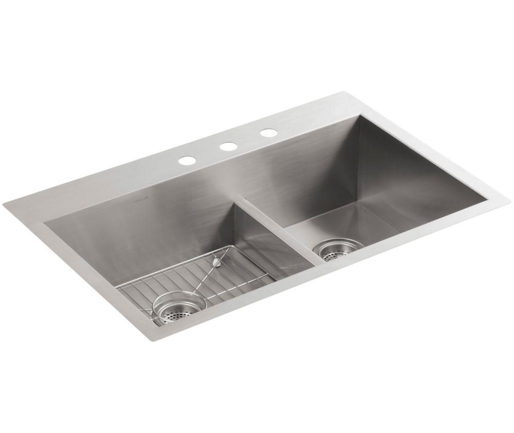 KOHLER Vault Smart Divide Top Mount Stainless Steel 33X22X9.3125 3-Hole Double Bowl Kitchen Sink