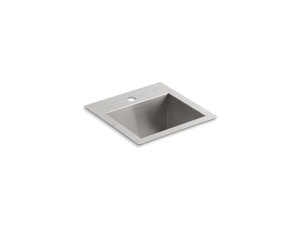 KOHLER Vault 15  inch X 15  inch X 9.3125  inch Stainless Steel Bar Sink