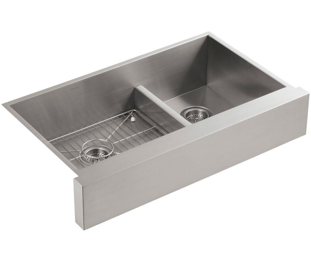 KOHLER Vault Smart Divide Undercounter Stainless Steel 35.5X21.25X9.313 0-Hole Double Bowl Kitchen Sink