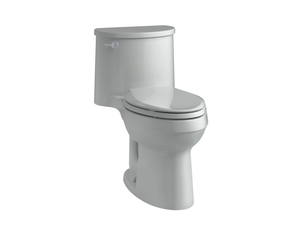 KOHLER Adair Comfort Height 1-Piece 1.28 Gpf Single Flush Elongated Toilet In Ice Grey
