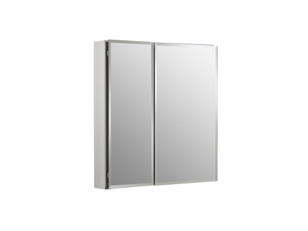 KOHLER Double Door 25-inch W x 26-inch H x 5-inch D Aluminum Cabinet with Square Mirrored Door in Silver