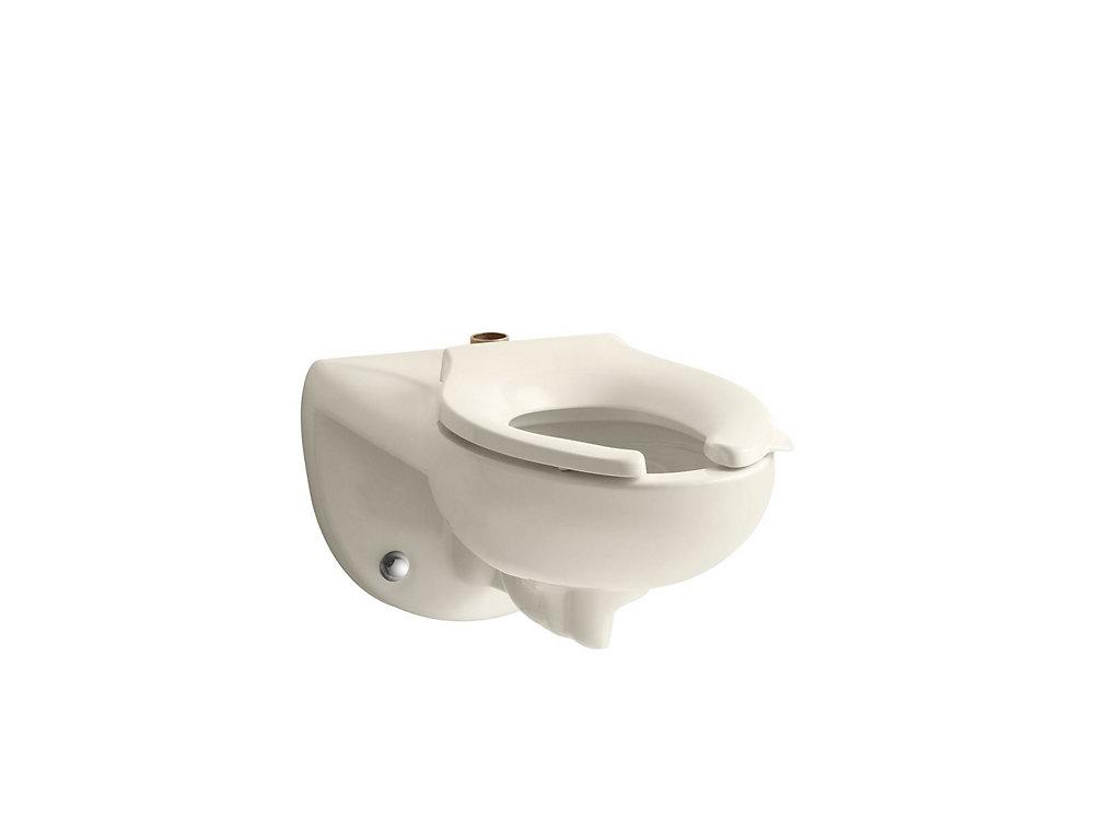 Cuvette de toilette Kingston a robinet de chasse d\'eau, 1,6 ou 1,28  gal/chasse, au mur, avec entree superieure, siege requis