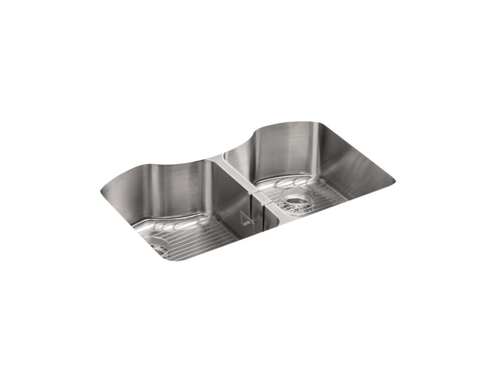 Octave 32 inch X 20-1/4 inch X 9-5/16 inch Under-Mount Double-Equal Stainless Steel Kitchen Sink