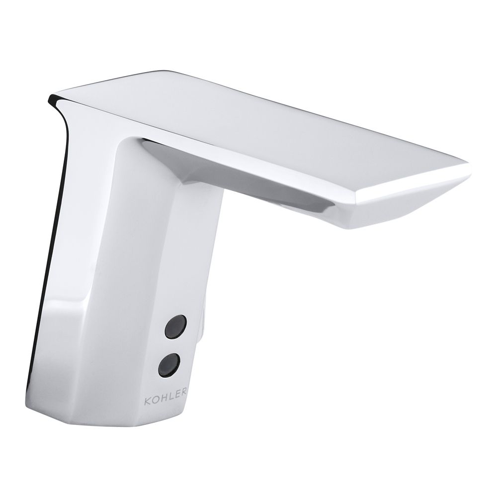 Geometric single-hole Touchless(TM) hybrid energy cell-powered commercial bathroom sink faucet with Insight(TM) technology