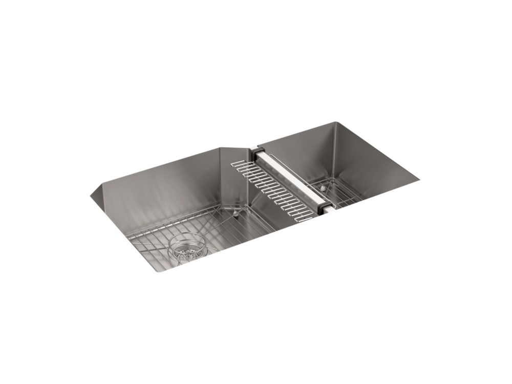 KOHLER Strive Undermount Stainless Steel 20-1/4X35-1/2X9-5/16 0-Hole Double Bowl Kitchen Sink