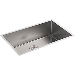 KOHLER Strive Undermount Stainless Steel 18.3125X29X9.3125 0-Hole Single Bowl Kitchen Sink
