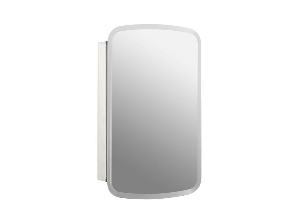 KOHLER Bancroft 20 W X 31 Inch H Aluminum Single-Door Medicine Cabinet With Mirrored Door, Beveled Edges