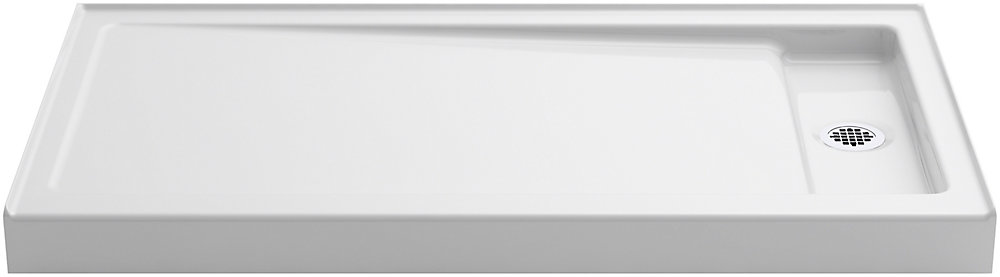 Bellweather 60 inch X 32 inch Single-Threshold Shower Base With Right Offset Drain, White