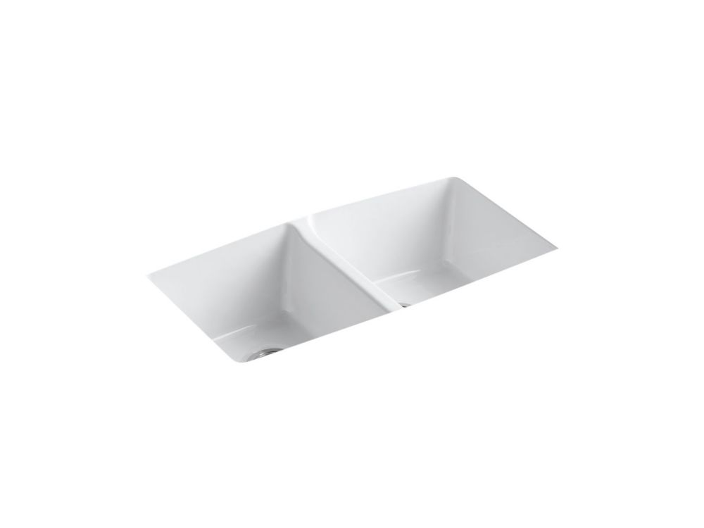 KOHLER Brookfield Undermount Cast Iron 33  Inch 5-Hole Double Bowl Kitchen Sink In White