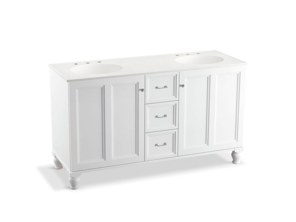 Damask 60 inch Vanity With Furniture Legs, 2 Doors And 3 Drawers, Linen White