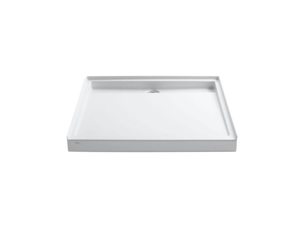 Groove 48 inch X 48 inch Single Threshold Rear Center Drain Shower Base, White