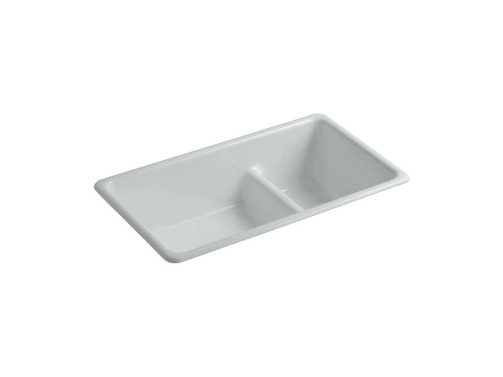 KOHLER Iron/Tones Smart Divide Dual Mount Cast Iron 33  Inch Double Bowl Kitchen Sink In Ice Grey
