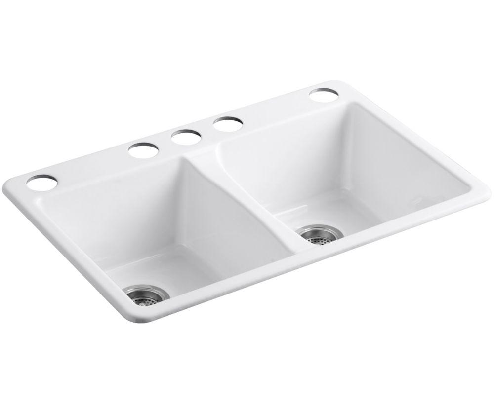 KOHLER Deerfield 33 inch X 22 inch X 9-5/8 inch Under-Mount Double-Equal Kitchen Sink In White
