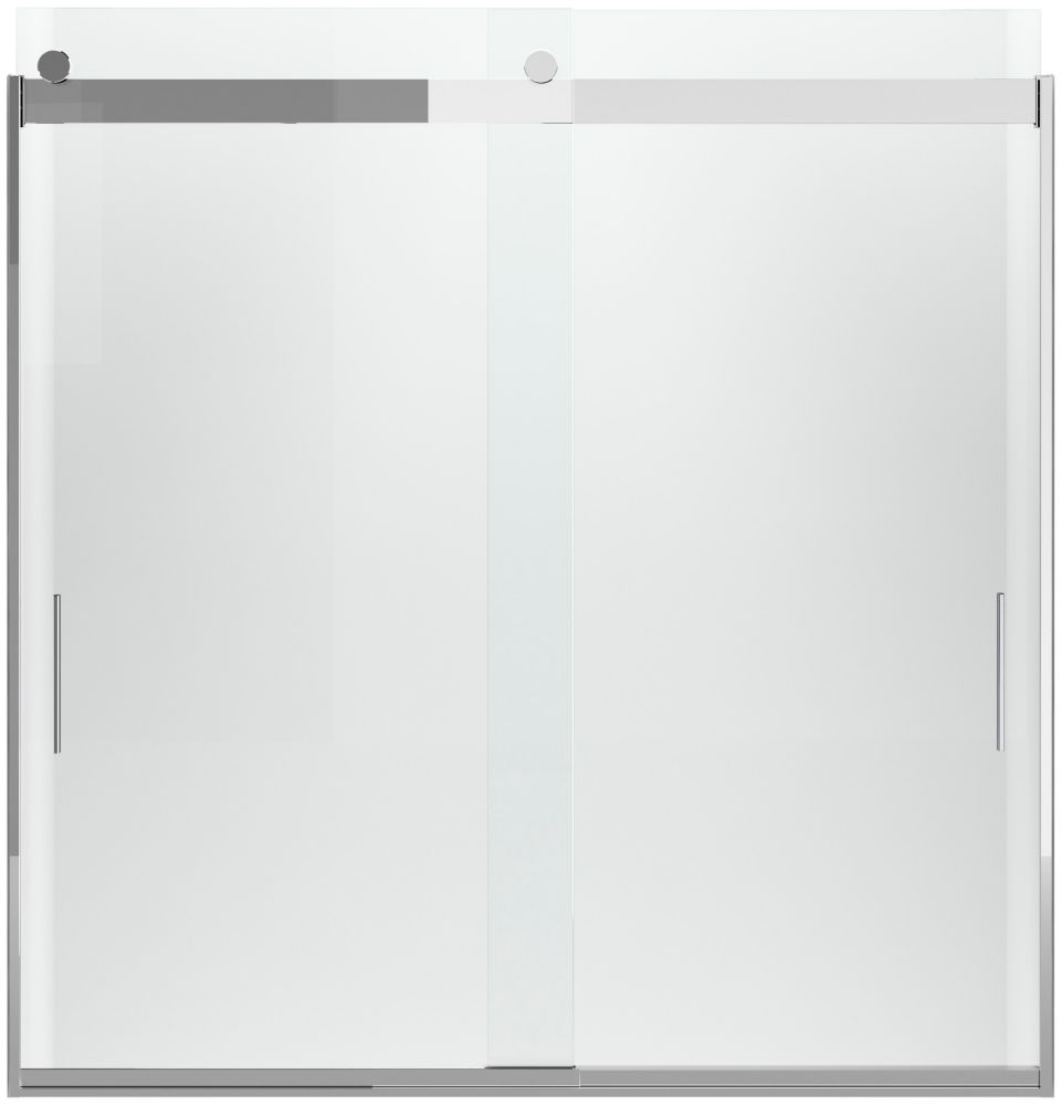 Levity 59-5/8  inch W X 62  inch H Frameless Sliding Tub/Shower Door With Handle In Silver