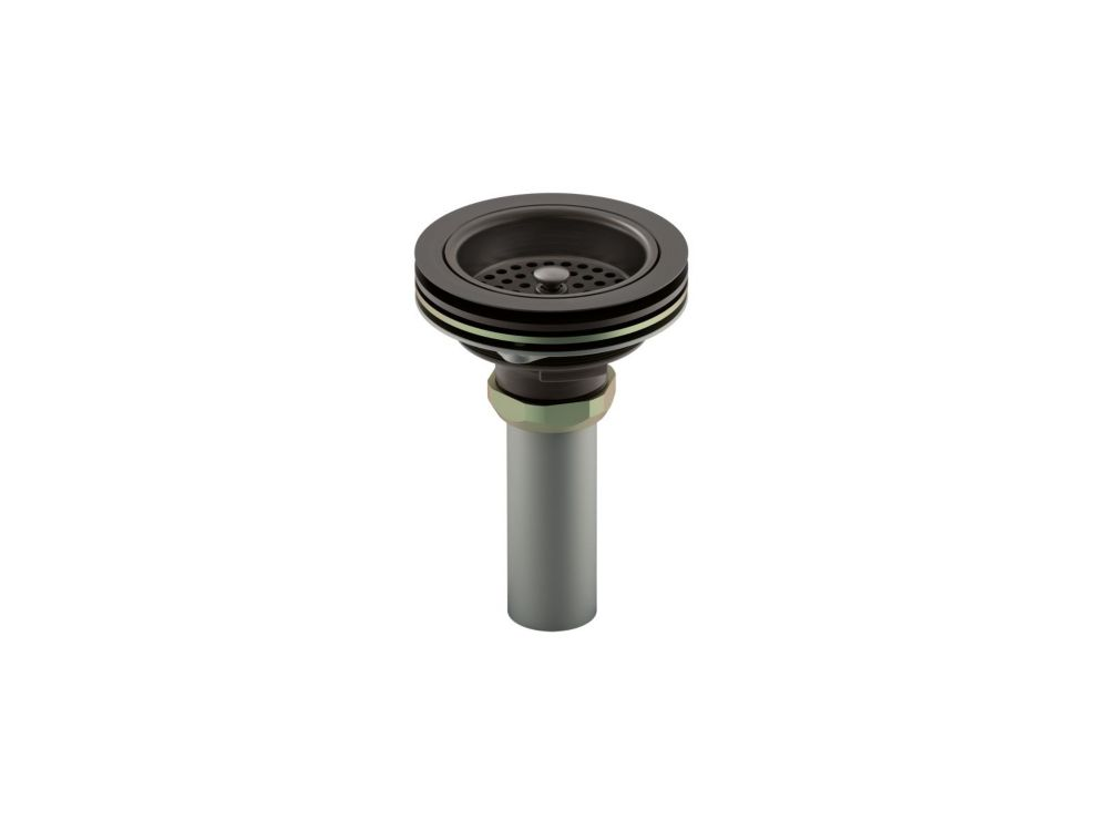 Duostrainer Manual Sink Strainer With Tailpiece, Oil-Rubbed Bronze