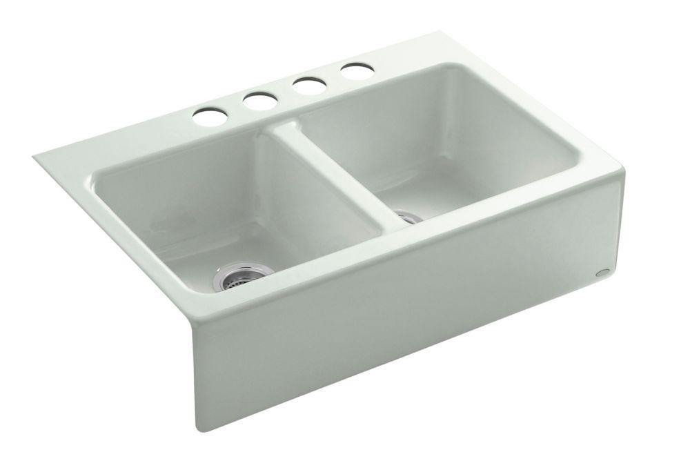 KOHLER Hawthorne Apron Front Undermount Cast Iron 33  Inch 4-Hole Double Bowl Kitchen Sink In White