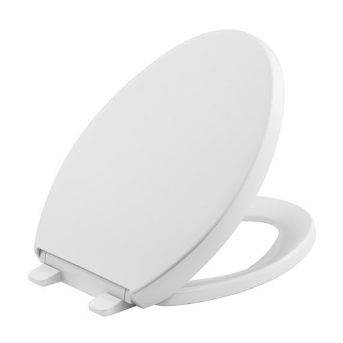 KOHLER Reveal Quiet-Close Elongated Closed Front Toilet Seat With Grip-Tight Bumpers In White