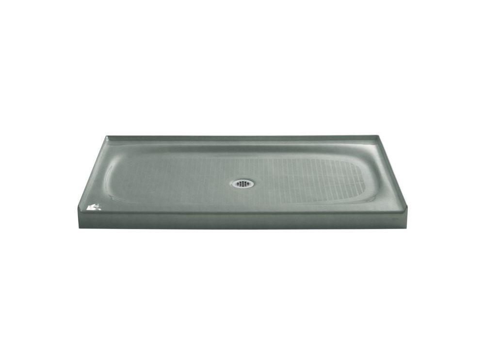 Salient 60 inch X 36 inch Single Threshold Center Drain Shower Base, Basalt