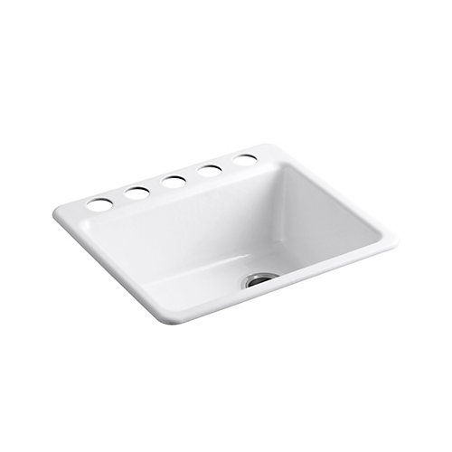 Riverby Undermount Cast Iron 25  inch 5-Hole Single Bowl Kitchen Sink In White