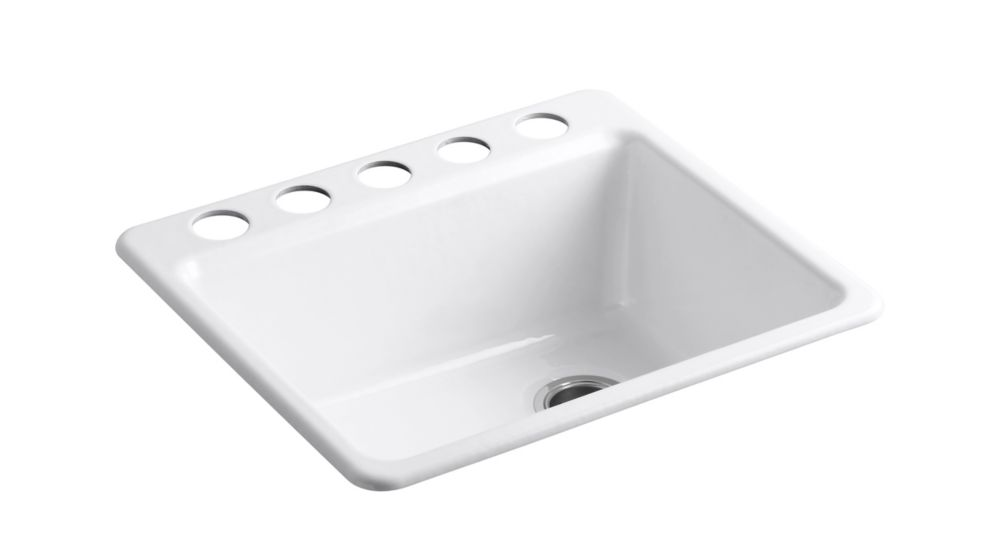 KOHLER Riverby Undermount Cast Iron 25  inch 5-Hole Single Bowl Kitchen Sink In White