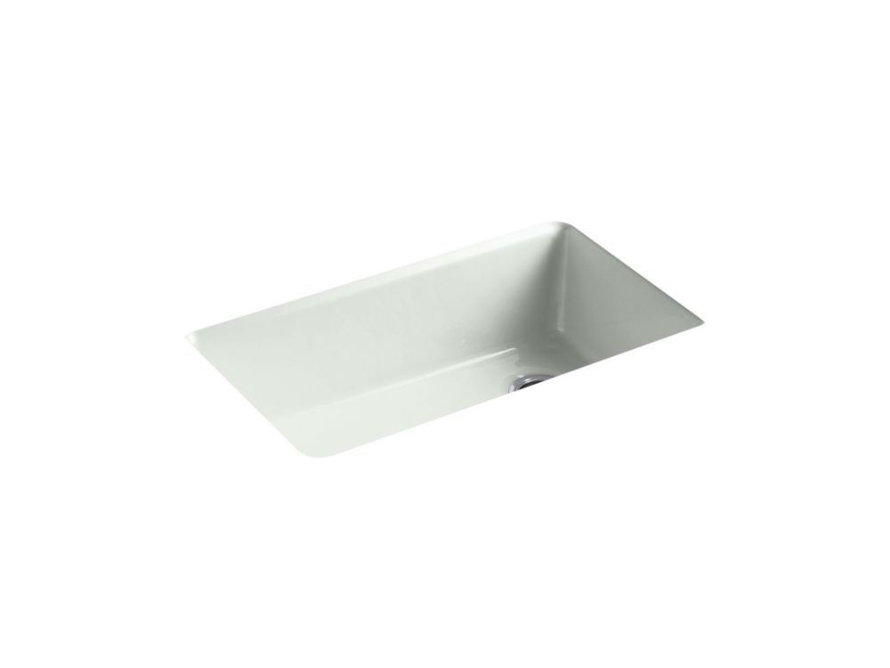 KOHLER Riverby Undermount Cast Iron 33  inch 5-Hole Single Bowl Kitchen Sink In Sea Salt