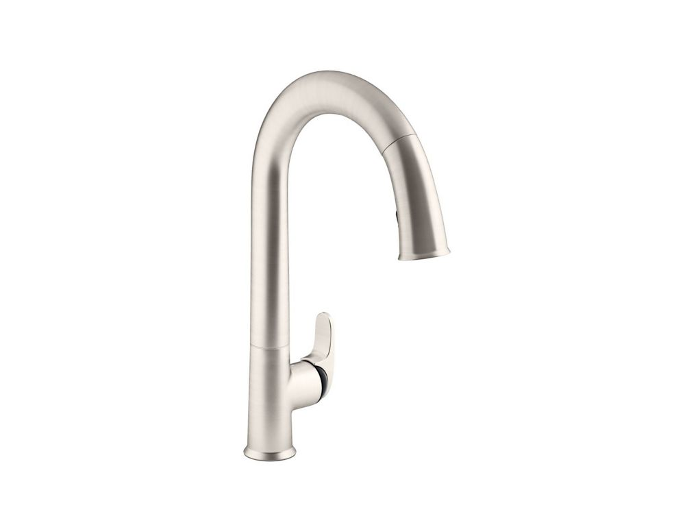 KOHLER Sensate Ac-Powered Touchless Kitchen Faucet In Vibrant Stainless With Black Accents