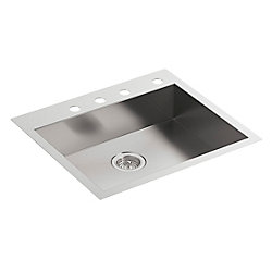 KOHLER Vault 25 inch X 22 inch X 6-5/16 inch Single Bowl Dual-Mount Kitchen Sink With 4 Faucet Holes