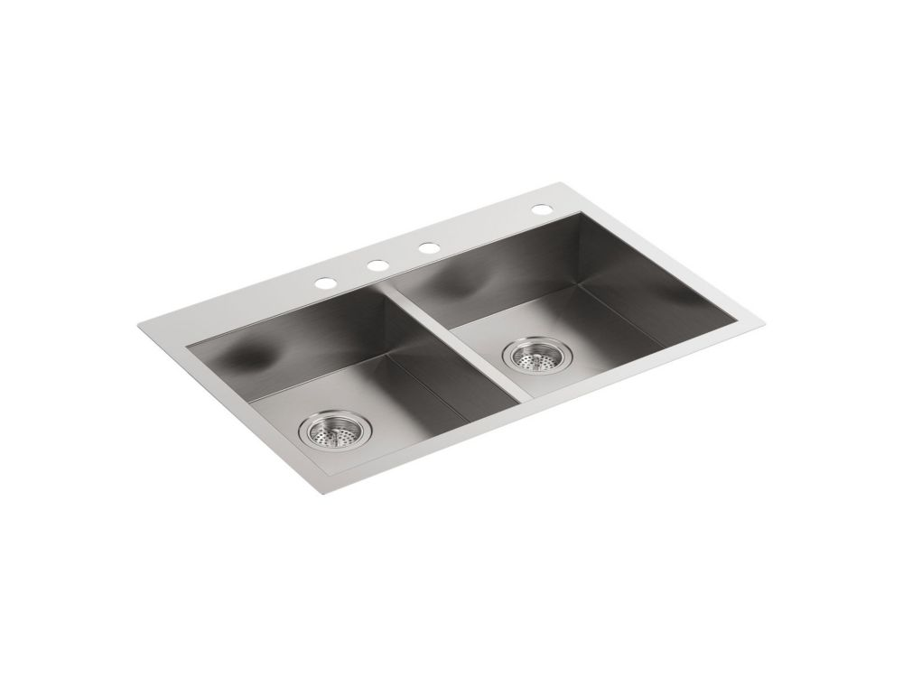Vault 33 inch X 22 inch X 6-5/16 inch Double-Equal Dual-Mount Kitchen Sink With 4 Faucet Holes