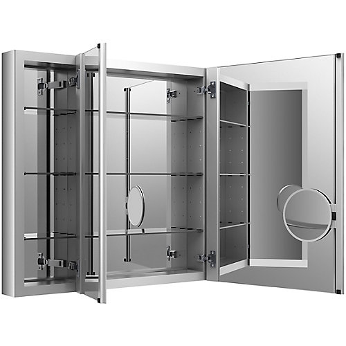 Verdera 40 inch W X 30 inch H Aluminum Medicine Cabinet With Magnifying Mirror And Slow-Close Door