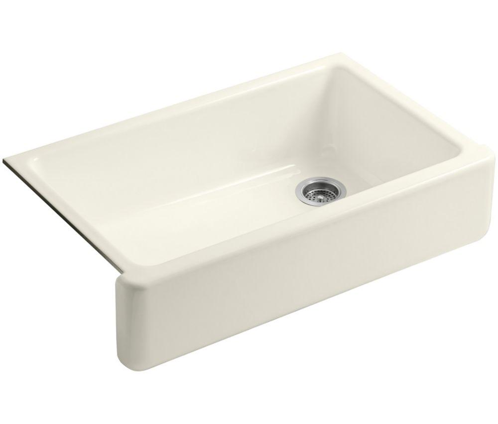 Whitehaven Undermount Cast Iron 35.6875  inch 0-Hole Single Bowl Kitchen Sink In Biscuit