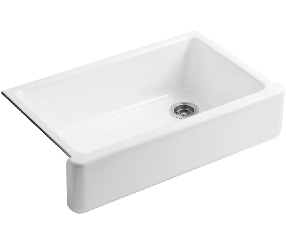 Whitehaven Undermount Cast Iron 35.6875  inch 0-Hole Single Bowl Kitchen Sink In White
